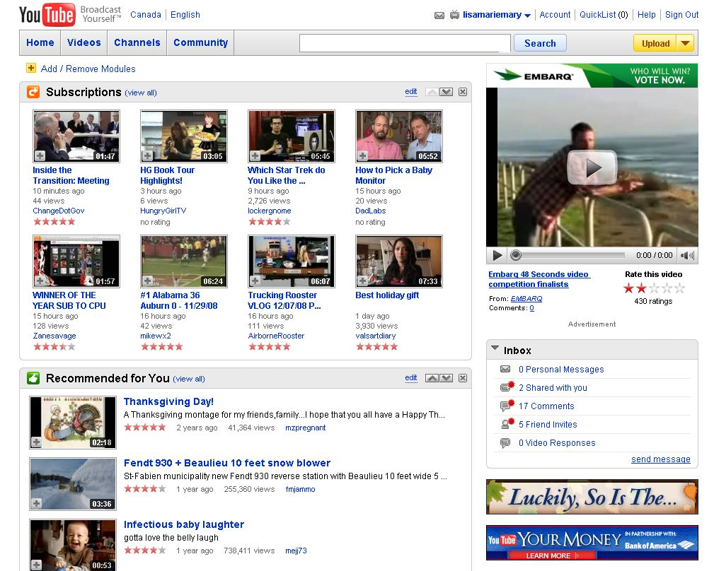 The New YouTube Homepage